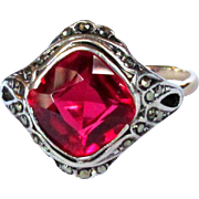 Antique Ring, 8K Gold, Synthetic Ruby / Marcasites