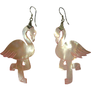 Vintage Flamingo Earrings, Carved Mother of Pearl