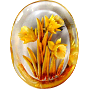 Vintage Lucite Pin, Reverse Carved & Painted Daffodils