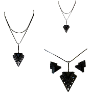 Art Deco Rhinestone Necklace & Earrings, 1940's