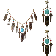 Egyptian Revival Set, 80's Vintage Sadie Green Necklace & Earrings