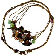 80's Crystal Bead Necklace, Cord & Leather Leaves