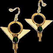 Sterling, GF Earrings, 80's Art Deco Revival, Art Glass Cab