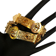Victorian Wedding Bracelets, Buckle Set, Rolled Gold