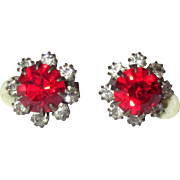 Vintage Rhinestone Earrings, Flowerette Clip Ons