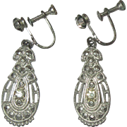 Deco Rhinestone Earrings, 1920's Drop Screw Backs