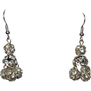 Vintage Rhinestone Earrings, 60's Crystal Balls