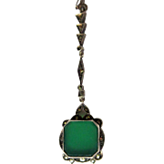 Chrysoprase Necklace, Sterling & Marcasite, Art Deco