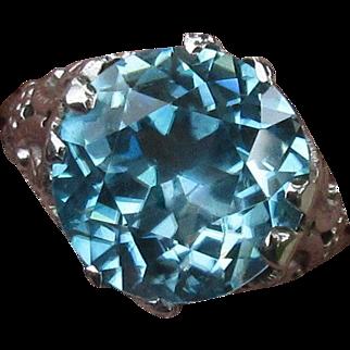 Edwardian Blue Zircon Ring, 14K WG Filigree, 7.25 ct Solitare