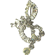 Juliana Rhinestone Treble Clef Brooch, 50's, D&E