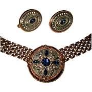 Victorian Revival Necklace & Earrings, Rhinestone & Rose Gold Toned