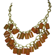 Vintage Bakelite Necklace, Deco Apple Juice Charms, Celluloid Chain