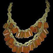 Vintage Bakelite Necklace, Deco Apple Juice Charms, Celluloid Chain