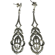 Sterling Marcasite Earrings, Art Nouveau Filigree Drops