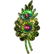 D&E Juliana Watermelon Rivoli Pin / Flower, 1960's