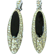 Vintage Rhinestone Earrings, Long Dangling 1980's