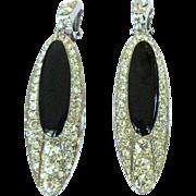 Vintage Rhinestone Earrings, Long Dangling 1980's