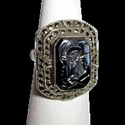 Intaglio Roman Ring, Sterling, Hematite, Marcasite Halo, Deco Soldier