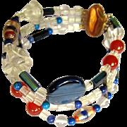 Glass Bead Bracelet, 14K GF Clasp, Vintage 3 Strand