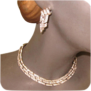 Deco Rhinestone Necklace & Earrings, Ora Set