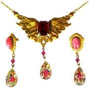 Vintage Art Glass Necklace & Earrings, Art Nouveau Revival