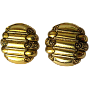 Vintage Earrings, Scroll Design, Gold Toned Clip Ons