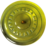 Bakelite Prystal Button, Carved Apple Juice