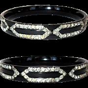 Celluloid Sparkle Bracelet, 20's Deco Rhinestone Bangle