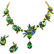 Juliana Heliotrope Watermelon Necklace & Earrings, Rhinestone D & E