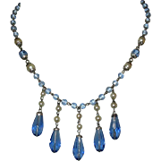 Czech Glass Necklace, Sapphire Blue & Glass Pearls, Vintage Bib