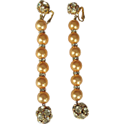 Vintage Rhinestone Shoulder Duster Earrings, Glass Pearls