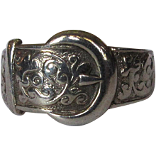 Sterling Buckle Ring, English Hallmarks, Art Nouveau Revival