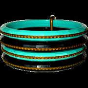 Plastic Bracelet Set,  5 Bangles, Black & Aqua, 1950's