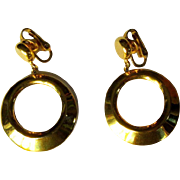 Crown Trifari Hoop Earrings, Articulated Gold Toned, Vintage 60's