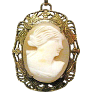 Art Nouveau Cameo Necklace, GF Filigree, Shell Carved Pendant