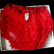 Vintage Red Panties, Rhinestone Studded & Ruffled, NOS Buttners