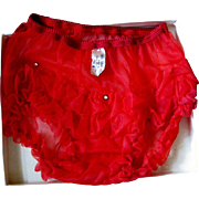 Vintage Red Panties, Rhinestone Studded & Ruffled, NOS Buttners