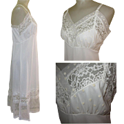 Vintage Slip, Lace Trim, Embroidered Polka Dots, 1950's