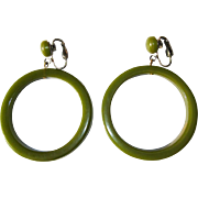 Bakelite Hoop Earrings, Articulated, Large, Green