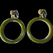 Bakelite Hoop Earrings, Articulated, Large, Green