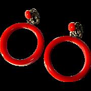 Bakelite Hoop Earrings, Articulated, Large, Red / Orange