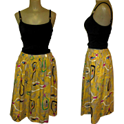 Vintage Cotton Skirt 1950s Atomic Print