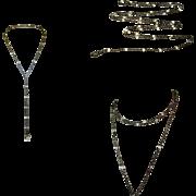 Victorian Crystal Chain, Gunmetal Watch Chain / Necklace