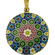 Millefiore Necklace, Vintage Pendent, Sterling & Gold Wash