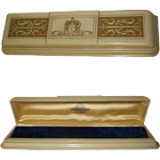 Art Deco Celluloid Lady Hamilton Watch Box, Blue Velvet, Vintage 40's