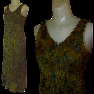 Silk Slip Dress / Hand Dyed, Bias Cut, 80's