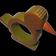 Bakelite Chicken Napkin Ring, Vintage Green