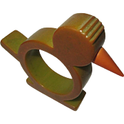 Bakelite Chicken Napkin Ring, Vintage Green