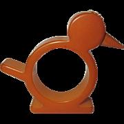Bakelite Chicken Napkin Ring, Vintage Butterscotch
