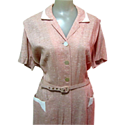50's Silk Dress, Vintage Dressy Office, M / L